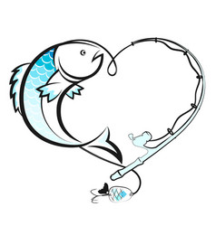 Fish and fishing rod with a reel vector