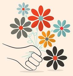 Flat Design Retro Flowers in Hand vector image
