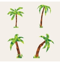 Four lowpoly palm trees vector