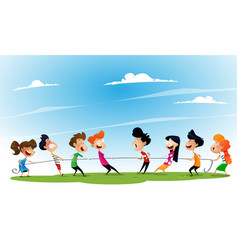 Fun cartoon boys and girls pulling rope vector