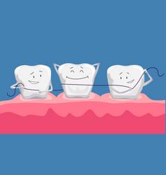 Funny clean teeth dental floss use hygiene floss vector