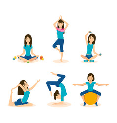 Girls do yoga meditation in different positions vector