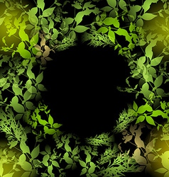glare green leaves on a black background Round vector image
