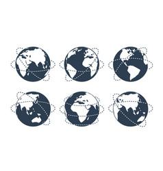globes with dotted lines representing flights vector image