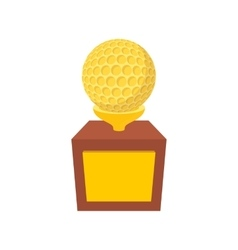 Golden trophy with golf ball cartoon icon vector image