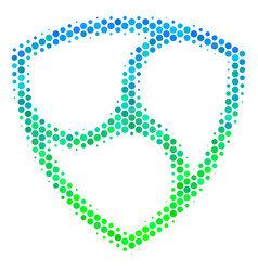Halftone blue-green nem currency icon vector
