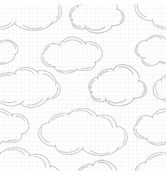 Hand drawn clouds on squared paper vector image