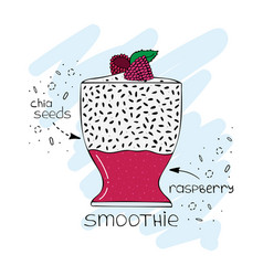 hand-drawn of superfood of a smoothie with chia vector image