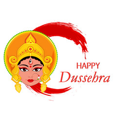 Happy dussehra greeting card maa durga face on vector