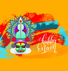 happy onam greeting card with indian kathakali vector image