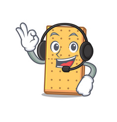 Headphone graham cookies mascot cartoon vector