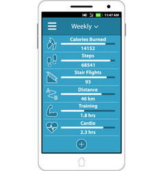 health and fitness smart phone application vector image