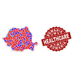 Healthcare composition of mosaic map of romania vector