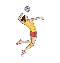 high athlete plays volleyballthe player throws vector image