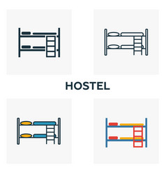 hostel outline icon thin style design from city vector image