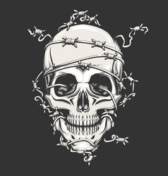 Human skull in barbed wire vector