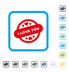 i love you stamp seal framed icon vector image