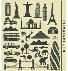 icons city landmark world vector image
