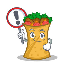 Kebab wrap character cartoon with sign vector