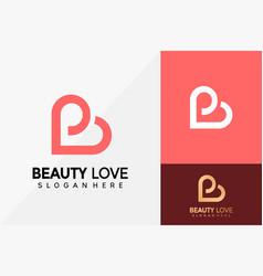 Letter b love logo design brand identity logos vector