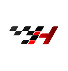Letter h with racing flag logo vector