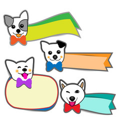 Little dog smiled and banner on white background vector