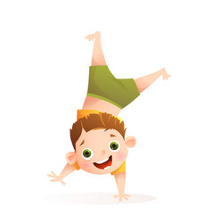 little fun boy playing doing upside down handstand vector image