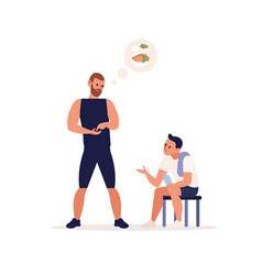 Male personal coach giving advice on nutrition vector