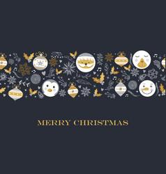 merry christmas cute retro decoration card design vector image