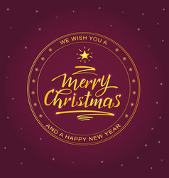merry christmas golden rubber stamp vector image