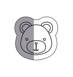 Monochrome contour sticker with teddy bear head vector