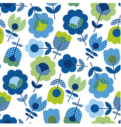 Naive folk style spring flowers seamless pattern vector