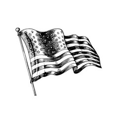National american flag drawn vector