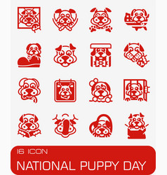 national puppy day icon set vector image