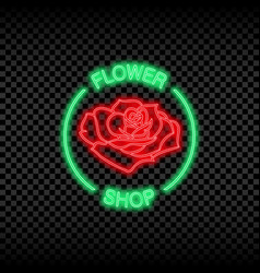 neon light sign flower shop vector image