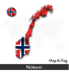 norway map and flag waving textile design dot vector image