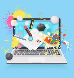Online education flat concept laptop vector
