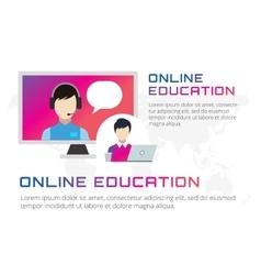 Online education icons Webinar school vector image
