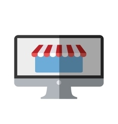 Online shopping computer mobile marketing color vector