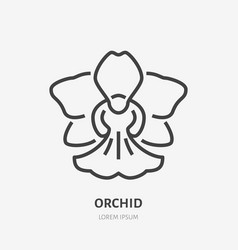 orchid flat line icon sign of blossom vector image