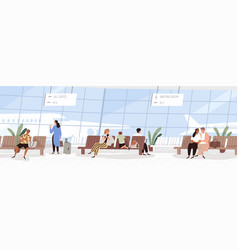 passengers at waiting room in international vector image
