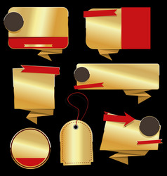 retro vintage golden labels and banners vector image