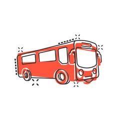 School bus icon in comic style autobus cartoon on vector