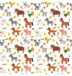 Seamless pattern with farm animals vegetables and vector