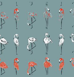 Seamless pattern with flamingo in different poses vector