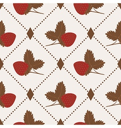 Seamless pattern with strawberry and polka dot rho vector image