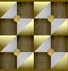 seamless wallpaper with wooden and golden tiles vector image