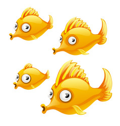 set of cartoon fish isolated on white background vector image