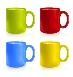 set of colored cups vector image