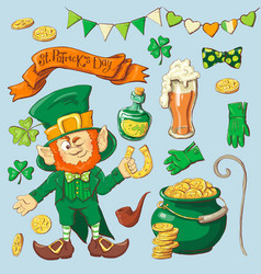 set of leprechaun characters poses eps10 vector image